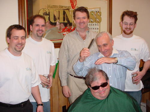 The Shavees - Anthony, Kevin S, Kevin G, Pete's barber, Ross, Pete (seated)