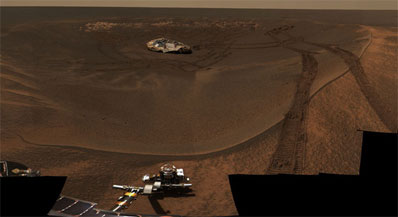 Opportunity leaves Eagle Crater after spending its first two months on Mars studying exposed bedrock and soil samples in the bowl-shaped depression. Credit: NASA/JPL/Cornell